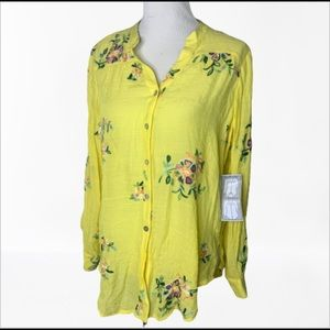 Anthropologie Fig & Flower Embroidered Blouse